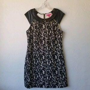 Betsey Johnson Dress Faux Leather Lace dress s/ 10